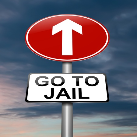 Illustration depicting a sign with a jail concept  Stock Illustration - 18003962