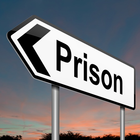 Illustration depicting a sign with a jail concept  illustration