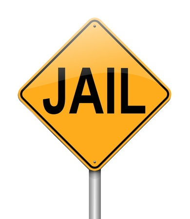 incarceration: Illustration depicting a sign with a jail concept