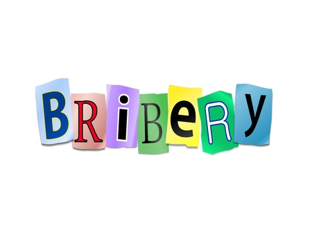 subornation: Illustration depicting cutout printed letters arranged to form the word bribery