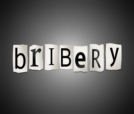 bribing: Illustration depicting cutout printed letters arranged to form the word bribery
