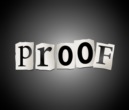 impervious: Illustration depicting cutout printed letters arranged to form the word proof
