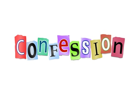 come up: Illustration depicting cutout printed letters arranged to form the word confession  Stock Photo
