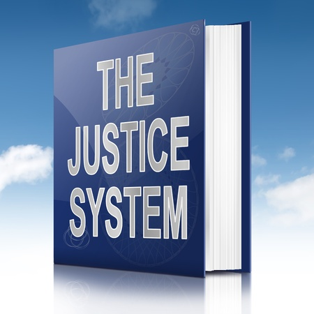 judicial system: Illustration depicting a text book with a justice system concept title  Sky background  Stock Photo