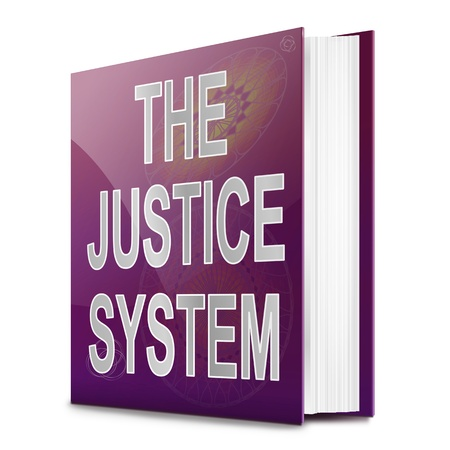 Illustration depicting a text book with a justice system concept title  White background