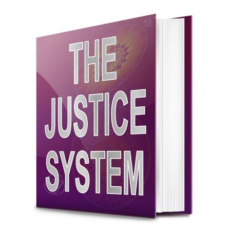 jurado: Ilustración que representa a un libro de texto con un sistema de justicia concepto fondo del título Blanca Foto de archivo