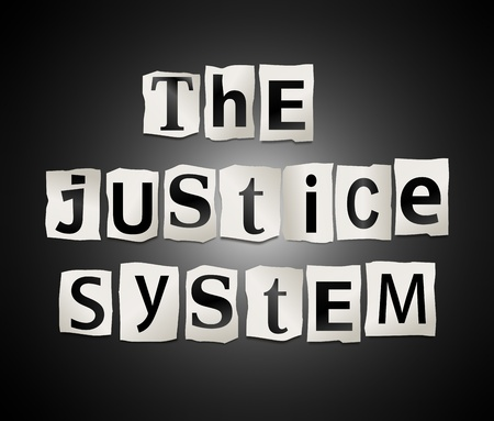 Illustration depicting cutout printed letters arranged to form the words the justice system  illustration