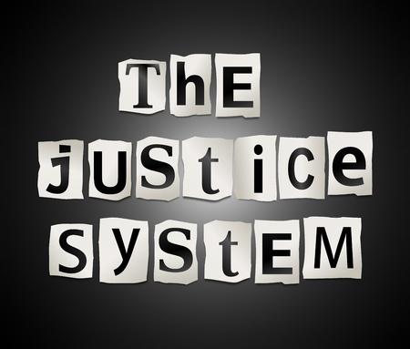 derecho penal: Ilustración que representa recorte letras impresas dispuestas para formar las palabras que el sistema de justicia
