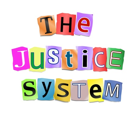 Illustration depicting cutout printed letters arranged to form the words the justice system Stock Illustration - 18003873