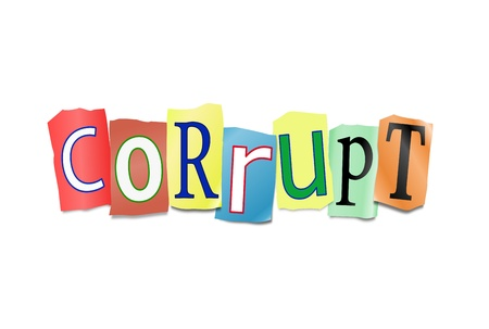underhand: Illustration depicting cutout printed letters arranged to form the word corruption  Stock Photo