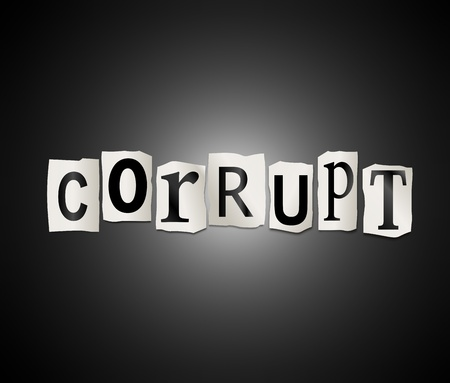 deceitful: Illustration depicting cutout printed letters arranged to form the word corrupt  Stock Photo