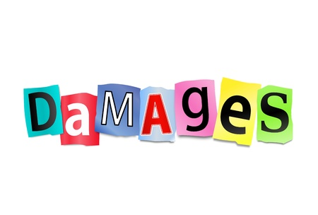 recompense: Illustration depicting cutout printed letters arranged to form the word damages. Stock Photo