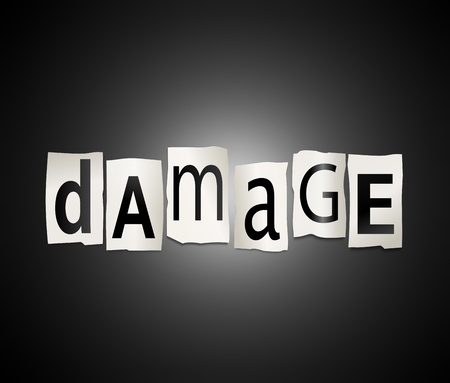 Illustration depicting cutout printed letters arranged to form the word damage. Stock Illustration - 18105676
