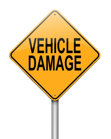 write off: Illustration depicting a sign with a vehicle damage concept. Stock Photo