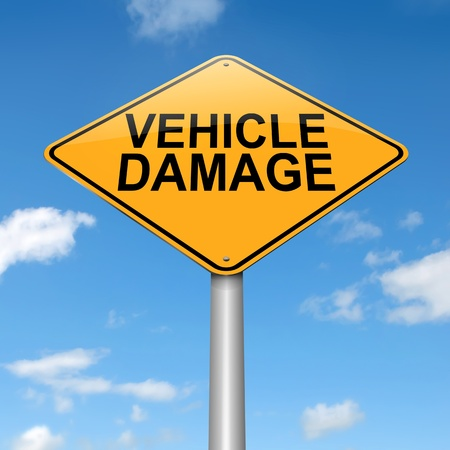 crashed: Illustration depicting a sign with a vehicle damage concept. Stock Photo