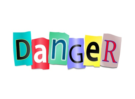 endangerment: Illustration depicting cutout printed letters arranged to form the word danger. Stock Photo