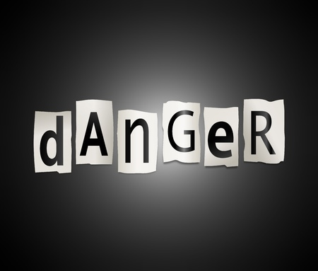Illustration depicting cutout printed letters arranged to form the word danger. Stock Illustration - 18105679