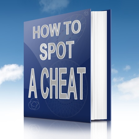 deceiving: Illustration depicting a text book with a cheating concept title. Sky background.