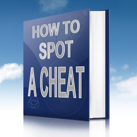 fraudster: Illustrazione raffigurante un libro di testo con un concetto di titolo barare. Cielo di sfondo.