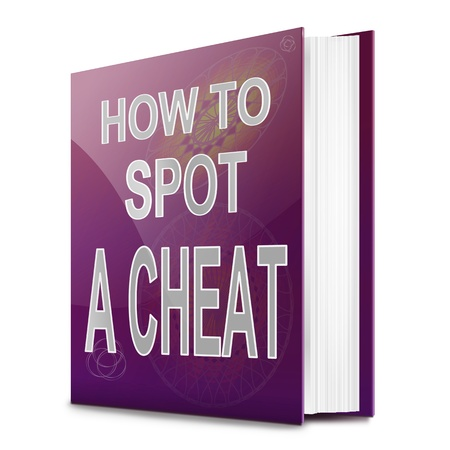 deceiving: Illustration depicting a text book with a cheating concept title. White background.