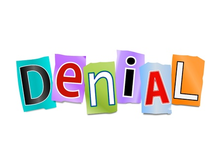 denial: Illustration depicting cutout printed letters arranged to form the word denial.