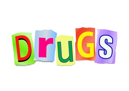 injected: Illustration depicting cutout printed letters arranged to form the word drugs  Stock Photo