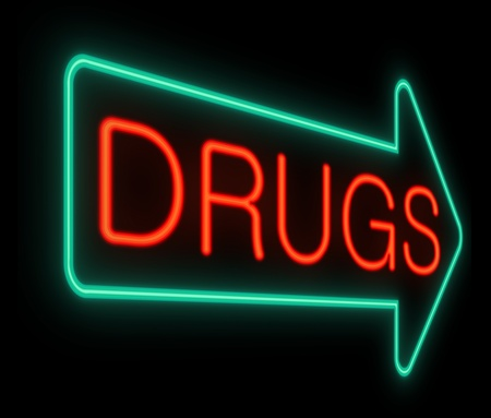 heroin: Illustration depicting a neon sign with a drugs concept