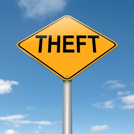 mugging: Illustration depicting a sign with a theft concept  Stock Photo