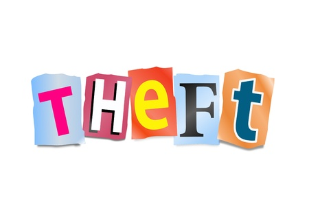 breaking off: Illustration depicting cutout printed letters arranged to form the word theft  Stock Photo
