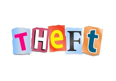 nicked: Ilustraci�n que representa recorte letras impresas dispuestas para formar la palabra robo
