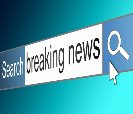 breaking news: Illustration depicting a screen shot of an internet search bar containing a breaking news concept
