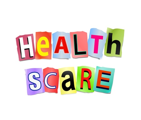 Illustration depicting cutout printed letters arranged to form the words health scare  illustration