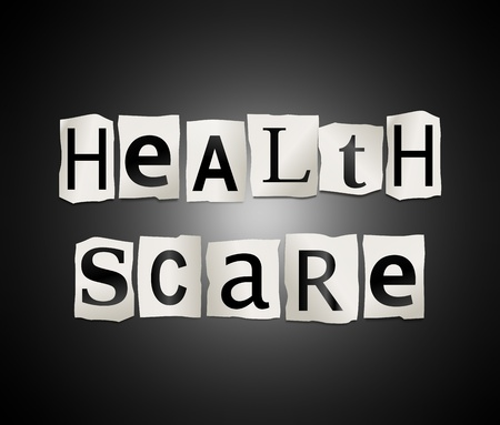 scare: Illustration depicting cutout printed letters arranged to form the words health scare