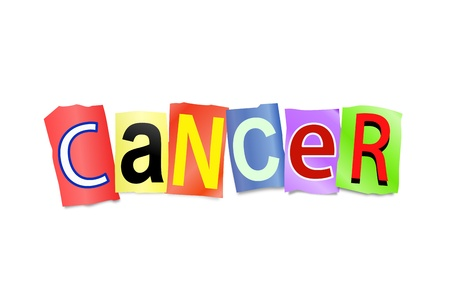 lump: Illustration depicting cutout printed letters arranged to form the word cancer.