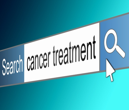 finding the cure: Illustration depicting a screen shot of an internet search bar containing a cancer treatment concept.