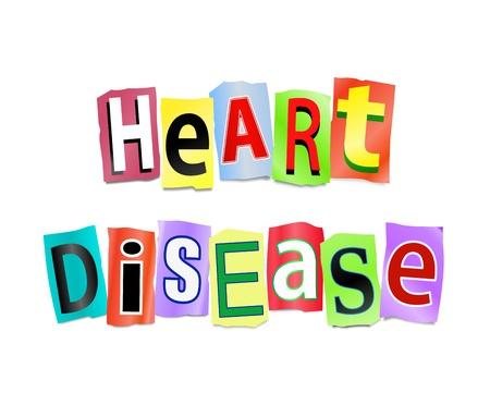 tachycardia: Ilustraci�n que representa recorte letras impresas dispuestas para formar la enfermedad card�aca palabras.