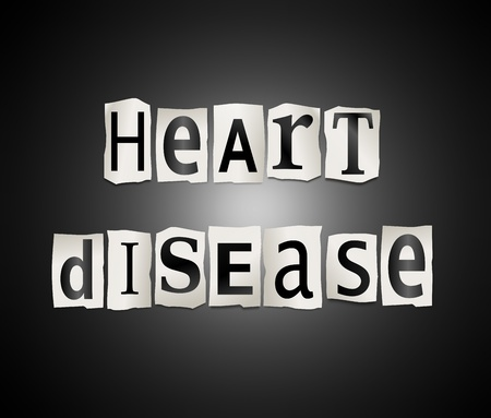 heart disease: Illustration depicting cutout printed letters arranged to form the words heart disease.