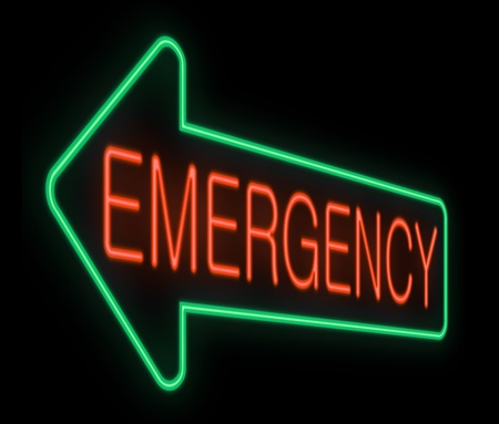 predicament: Illustration depicting a neon sign with an emergency concept.