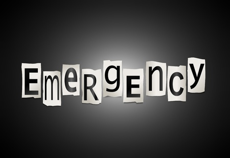 Illustration depicting cutout printed letters arranged to form the word emergency. Stock Illustration - 18141932