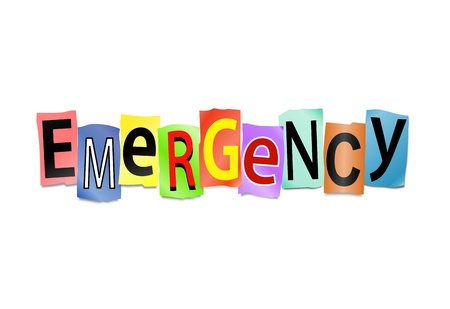 Illustration depicting cutout printed letters arranged to form the word emergency. Stock Illustration - 18141911