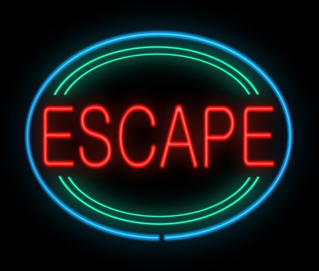 breakout: Illustration depicting a neon sign with an escape concept