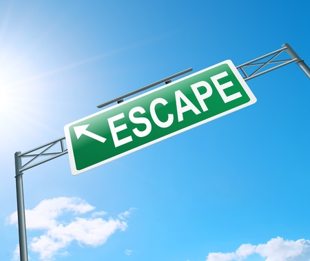run away: Illustration depicting a sign with an escape concept  Stock Photo