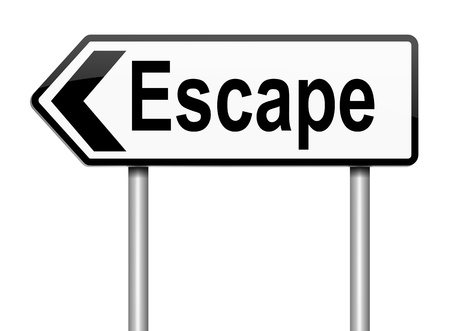 getaways: Illustration depicting a sign with an escape concept  Stock Photo