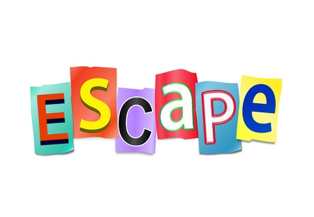 breakout: Illustration depicting cutout printed letters arranged to form the word escape