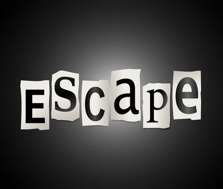 evade: Illustration depicting cutout printed letters arranged to form the word escape