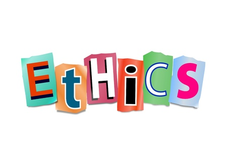 Illustration depicting cutout printed letters arranged to form the word ethics  Stock Photo