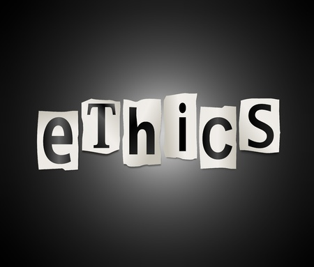 ethics and morals: Illustration depicting cutout printed letters arranged to form the word ethics  Stock Photo