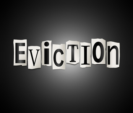 evicted: Illustration depicting cutout printed letters arranged to form the word eviction  Stock Photo