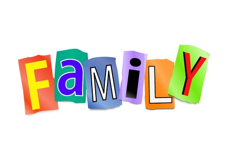 extended family: Illustration depicting cutout printed letters arranged to form the word family