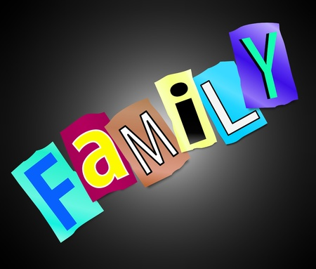 descendants: Illustration depicting cutout printed letters arranged to form the word family